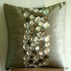Decorative Throw Pillow Covers Accent Pillow Couch Sofa Toss Bed Pillow Gray Silk Pillow Case Embroidered with Crystals Bedding Jewels Grey Pillow Covers, Grey Pillows, Toss Pillows, Decorative Pillow Covers, Cushion Covers, Luxury Duvet Covers, Luxury Bedding, Damier, Silk Pillow