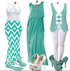 Cute Outfit Ideas! Mint Green + White Striped Print Slim Maxi Skirt #Mint_Green #White #Stripes #Zig_Zag #Skirts #Bottoms #Sexy #High #Heels #Colorful #Summer #Outfit #Ideas #Fashion