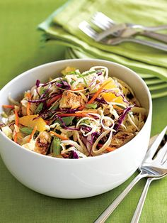 This warm main dish salad provides a healthy helping of antioxidant-rich fruits and vegetables--oranges, napa cabbage, green cabbage, and sugar snap peas.