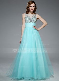 Prom Dresses - $169.99 - Ball-Gown Scoop Neck Floor-Length Tulle Prom Dress With Beading Sequins (018047249) http://jenjenhouse.com/Ball-Gown-Scoop-Neck-Floor-Length-Tulle-Prom-Dress-With-Beading-Sequins-018047249-g47249
