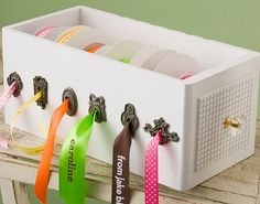 wooden ribbon box...
