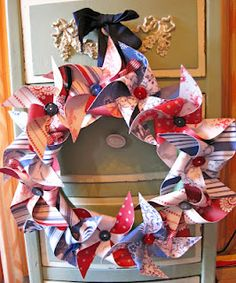 Pinwheel wreath  Lori Hairston  http://thecuttingcafe.typepad.com/the_cutting_cafe/2012/04/pinwheel-sentiment-template-cutting-file-set.html