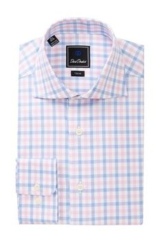Patterned Trim Fit Dress Shirt