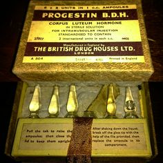 Progestin b.h corpus luteum hormone by the British drug houses Ltd with 5 unopened ampules /vials probably from the Old Teddy Bears, War On Drugs, Old Advertisements, Its All Good, Print Ads, Vintage Ads, Apothecary, Four Square