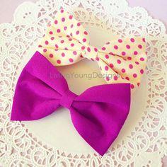 Purple & Polka Dot Hair Bows #purple #polkadot #hair #bows #boho $3.50