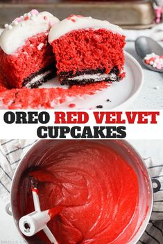 Oreo Red Velvet Cupcakes with Cream Cheese Frosting: Say HELLO to your new favorite Valentine's Day dessert and knock those plain red vevlet cupcakes up a couple of notches by adding Oreos to the bottoms of your cupcakes! Mocha Cupcakes, Red Velvet Cupcakes, Vanilla Cupcakes, Strawberry Cupcakes, Strawberry Shortcake, Gourmet Cupcakes, Cupcake Recipes, Cupcake Cakes, Dessert Recipes
