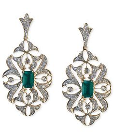 Brasilica by EFFY Emerald (1 ct. t.w.) and Diamond (1/2 ct. t.w.) Drop Earrings in 14k Gold