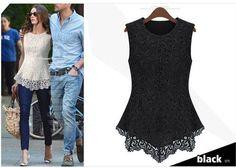 Dmart7deal; Dress Shirts Blusas De Renda Regatas Lace Hollow OUt Blouse