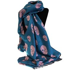 Pink and Teal Luxury Over Sized Skull Scarves by Rich Kids - The Handbag Hut - Cheap Scarves, Wholesale Scarves, Skull Scarf, Teal And Pink, Blue, Winter Gear, Rich Kids, Scarf Styles, New Product
