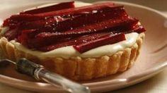 Rhubarb and lavender cream tart.