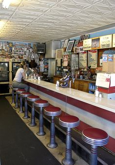 Five and dime store lunch counters? 50s Diner, Vintage Diner, Great Memories, Childhood Memories, American Diner, Soda Fountain, I Remember When, Good Ole, Diners