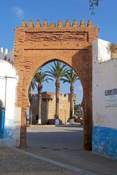 Larache - The Bab el-Khemis, the main entrance to the Medina in Laraches principal square, the place de la Liberation.
