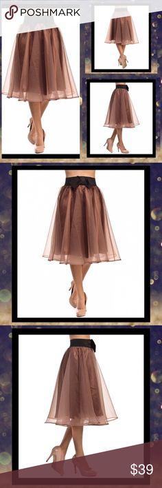 NEW! Bellino Brown & Black Bow-Accent A-Line Skirt NEW! Bellino Brown & Black Bow-Accent A-Line Skirt. Embrace your feminine side with this flouncing skirt that channels classic charm with a voluminous A-line profile and a sweet bow accent Color Lounge Skirts