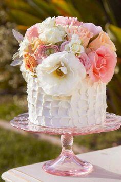 Cheery pink wedding cake