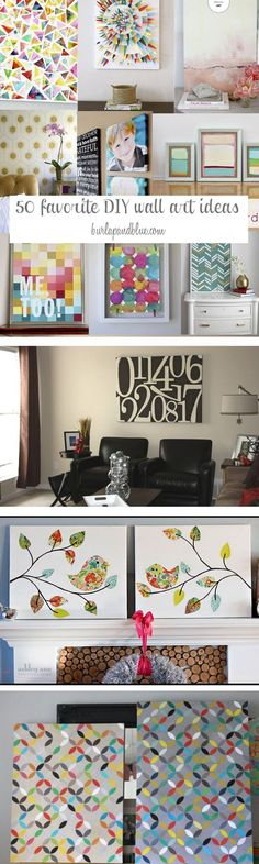 These are awesome DIY Wall Art Ideas. Some of My Favorite Wall Art Crafts and Tutorials Included.