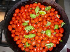 Warm tomatoes with oil and basil