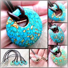 Heart Stone Necklace Turquoise Mosaic Necklace by EarthChildArt