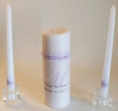 Check out this item in my Etsy shop https://www.etsy.com/listing/230514965/personalized-wedding-unity-candle-with
