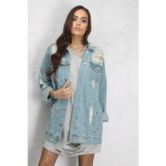 Rare Blue Long Line Distressed Denim Jacket (270 RON) ❤ liked on Polyvore featuring outerwear, jackets, longline jacket, long denim jacket, long line jacket, distressed jean jacket and denim jacket