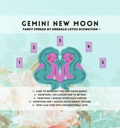 Gemini New Moon Tarot Spread — Emerald Lotus Divination Tarot Card Spreads, Tarot Cards, The Lovers Tarot Card, New Moon Rituals, Tarot Astrology, Free Tarot, Baby Witch, Tarot Learning, Gemini