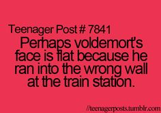 Perhaps Voldemort's face is flat because he ran into the wrong wall at the train station.