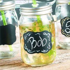 Set of 4 Mason Jar Drinking Glasses with Chalkboards