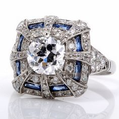Antique 2.92ct Diamond Sapphire Platinum Engagement Ring