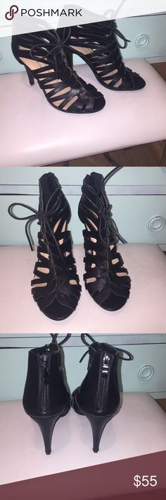 Black Leather Caged Sandals Super hip caged sandals that lace up with leather laces. Zip up at heel. Top Moda is a Nordstrom brand. Size 8.5 New!! Top Moda Shoes Sandals