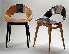 """Teres Kraszewska krzesło Muszelka, Zaprezentowane w roku 1956 na wystawie 30-lecia """"Ładu"""" w zestawie mebli mieszkalnych krzesła """"Muszelka"""" wykorzystywały w pełni dynamikę i lekkość tego materiału."""