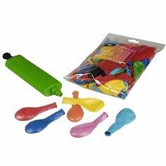 100 Feest ballonnen alle kleuren  Voordeelverpakking met 100 stuks gekleurde ballonnen en een ballonnenpomp. Formaat ballonnen: 22 cm. Materiaal ballonnen: latex. Geschikt voor helium en lucht.  EUR 9.50  Meer informatie
