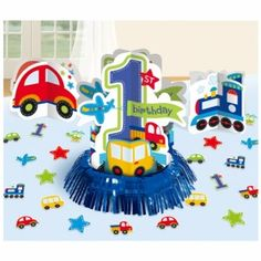 1st Birthday Boy All Aboard Table Decoarting Kit