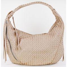 Christopher Kon Beige Woven Tassel Hobo Bag
