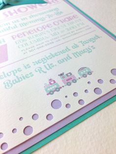 Super cute Mint and Purple Baby shower invitations with polka dot details and an adorable train at the bottom - perfect for a baby girl shower! Baby Shower Custom invitations in Mint and Purple by Traceritops