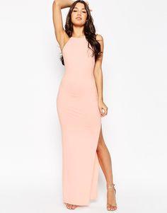 Image 4 ofASOS Halter Strappy Back Maxi Dress