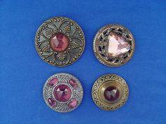 Antique Button Lot of 4 Large Ornate w Purple Glass Stones