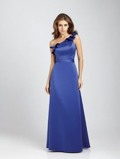 For a formal wedding, dress your bridesmaids in this satin A-line gown! Love the ruffled one-shoulder neckline. @allurebridals