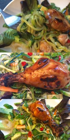 Lauwarmer Glas- & Zucchininudel-Salat mit Avocado, Möhren, Koriander & Teriyaki-Hähnchen.   #Rezept #Teriyaki #Hähnchen #Zucchininudeln #hausgemacht #selbstgemacht #recipes #homemade #healthy #foodrecipe #noodles #chicken #teriyakichicken #foodblogger #fresh #yummy #foodoftheday