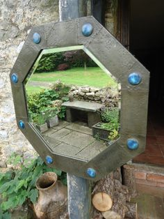 Antiques Atlas - Lovely octagonal pewter Arts & Crafts mirror with eight cabochons that appear to be Ruskin and are of excellent quality and in good condition. A lovely decorative mirror that would fit in a hall, bedroom or indeed any wall.  #artsandcraftsmirrors #ruskinmirror #pewtermirror #hallwaymirrordecor #bedroommirror #modernfarmhousemirror #hallwaymirror #decorativemirror Hallway Mirror, Mirrors, Pewter Art, Mirror Plates, Bird Feeders, Front Porch, Modern Farmhouse, Arts And Crafts, Bedroom