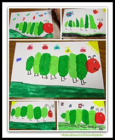 "Tissue Paper ""Very Hungry Caterpillars"" in the Style of Eric Carle, Eric Carle Children's Art Project via RainbowsWithinReach Hungry Caterpillar Activities, Very Hungry Caterpillar, Eric Carle, Tissue Paper Art, Spring School, Spring Activities, Time Activities, Daily Activities, Butterfly Crafts"