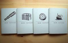 Travel Journal Set - Letterpress Hand Bound Notebook