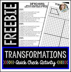 """FREE MATH LESSON - """"Transformations : Free"""" - Go to The Best of Teacher Entrepreneurs for this and hundreds of free lessons. 7th - 9th Grade  #FreeLesson   #Math  http://www.thebestofteacherentrepreneurs.org/2016/05/free-math-lesson-transformations-free.html"""