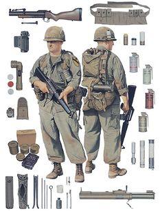 US Army Infantryman: Individual equipment and platoon weapons, Vietnam War. Military Units, Military Gear, Military Equipment, Military Weapons, Military History, Military Uniforms, Vietnam War Photos, Army Uniform, Liberia