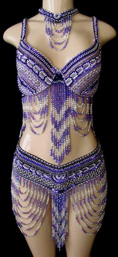 Amethyst with Crystal and Silver  Double Looped Belly Dance Costume