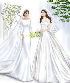 Wedding dress illustrations of Meghan Markle, Duchess of Sussex, and Kate Middleton, Duchess of Cambridge