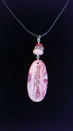 "Polymer Clay Namaste' Word Charm Pendant/Necklace with ""Rock"" Cairn"