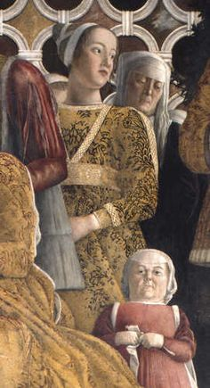 Andrea Mantegna, painted 1465-74, Camera degli Sposi - Palazzo Ducale, Mantua: portrait of Barbara Gonzaga, 1st duchess of Baden-Wurttemberg (fresco)