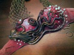 Red ombre Mermaid bra top with pearls, net, & octopus tentacle details//
