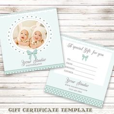 Gift Certificate Template for Photographers Photography Gift Card