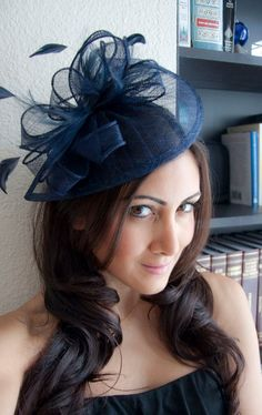 Navy Blue Fascinator Penny Mesh Hat Fascinator with by EyeHeartMe