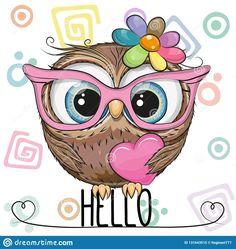 Cartoon Owl in a pink glasses with heart. Cute Cartoon Owl in a pink glasses with heart vector illustration Cute Owl Cartoon, Girl Cartoon, Owl Clip Art, Owl Art, Animal Drawings, Cute Drawings, Cute Owl Drawing, Cartoon Mignon, Art Mignon